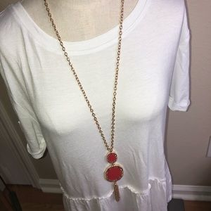 New! Anna and Ava long statement necklace red